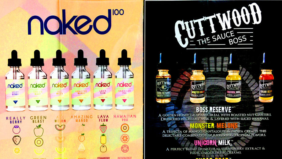 Naked 100 and Cuttwood e-Liquid Vapor